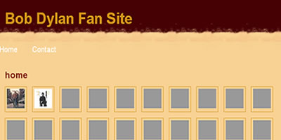 screen shot of Bob Dylan - Fan Site website