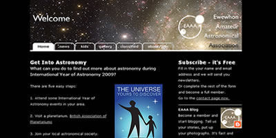 screen shot of Ewewhon Amature Astronomical Association website