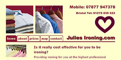 screen shot of julies ironing  website
