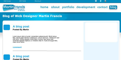 screen shot of martins blog page