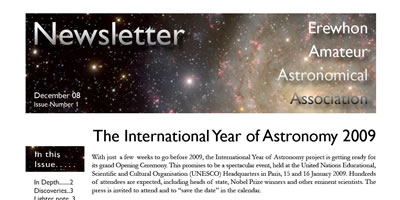 screen shot of Ewewhon Amature Astronomical Association newsletter