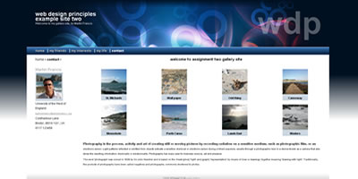 screen shot of Web Design Principles website
